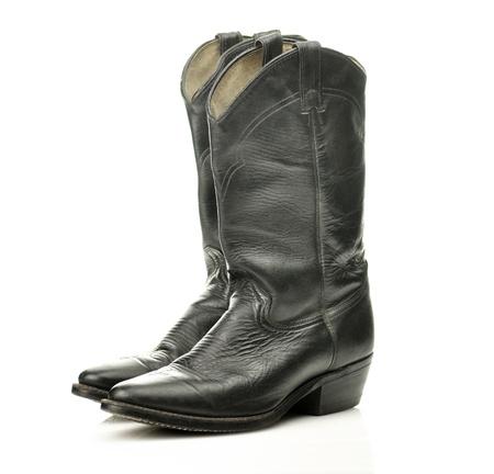 botas vaqueras: botas negras de vaquero Foto de archivo
