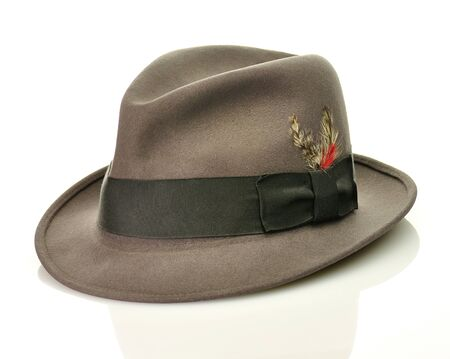 fedora hat: vintage gray hat  Stock Photo