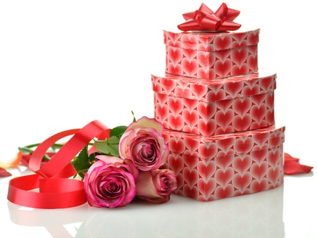 pink rose and gifts for St.Valentines Day  photo