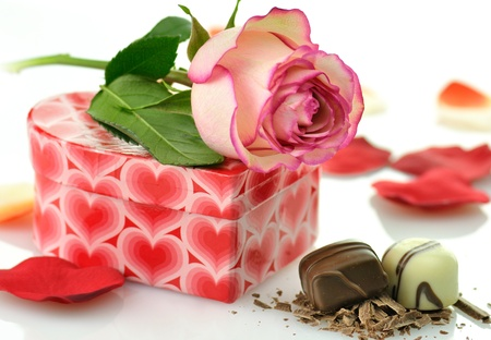 pink rose and gift for St.Valentine's Day  Stock Photo - 8648979