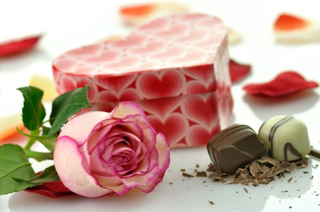 pink rose and gift for St.Valentine's Day  Stock Photo - 8648940