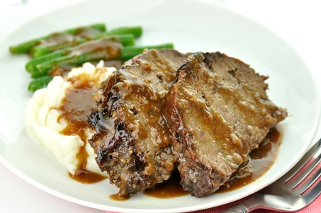 gravy: meat loaf with mashed potatoes and green beans