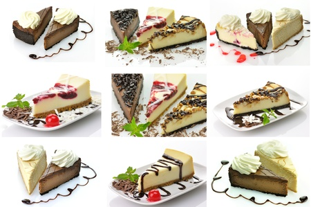 cheesecakes assortment collage photo