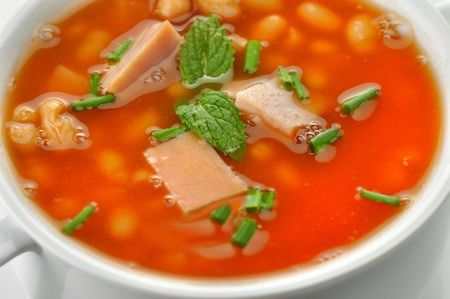 white bean soup with ham and tomatoes  photo