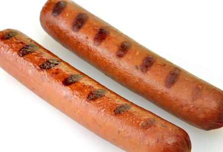grilled polish sausages close up  Banco de Imagens