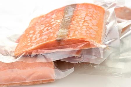 frozen food: frozen salmon fillets