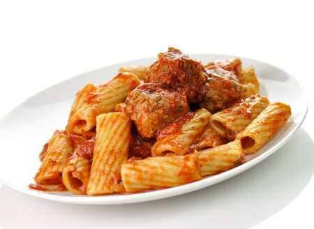 Rigatoni with tomato sauce and meatballs.