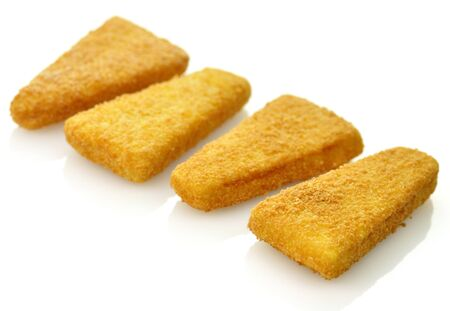 breaded: Frozen fish fillets on a white background