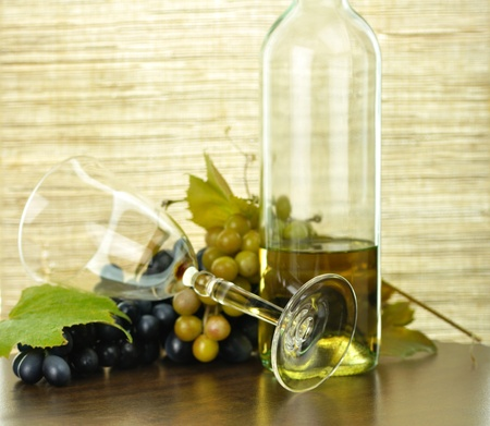 wine composition with  grape photo