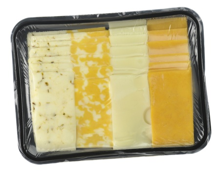 cheese tray slices in a vacuum package  photo