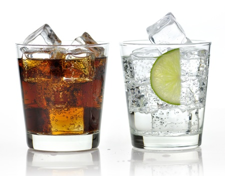 frozen glass: The sweet cooled drinks with ice  Stock Photo