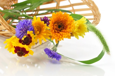 summer flowers in a basket