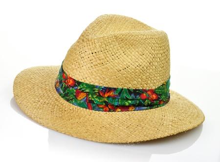 a vintage straw hat on white background Reklamní fotografie