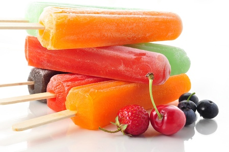 ice water: ice cream pops  Stock Photo