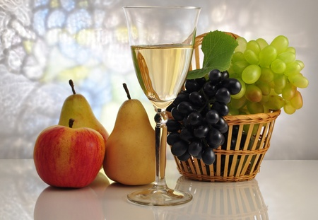 white wine and fruits Stock Photo - 9041218