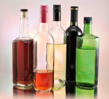 bottles with alcohol  photo