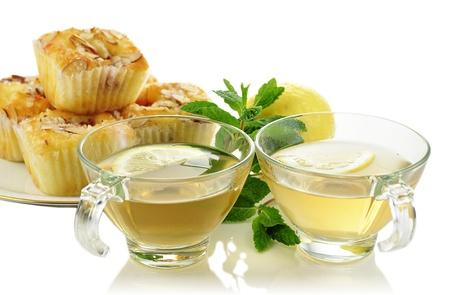 green tea with cake photo