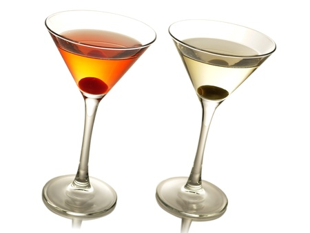 cocktails with olive and cherry photo