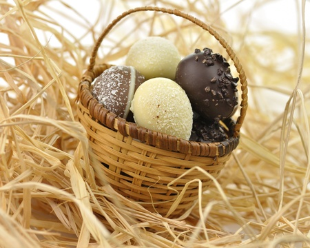 assortment of chocolate eggs in a basket, close up photo