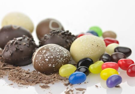 assortment of chocolate eggs and candies  close up photo