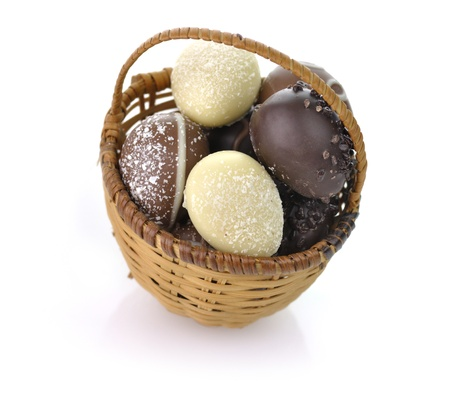 assortment of chocolate eggs in a basket photo