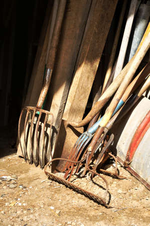 stored: Gardening tools and wood stored in the barn