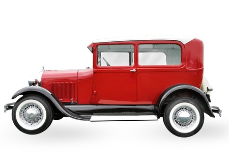 jalopy: red retro car isolated on white background Stock Photo