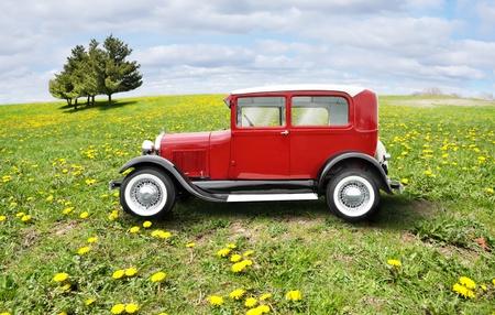 motor de carro: auto retro rojo sobre un campo verde Foto de archivo