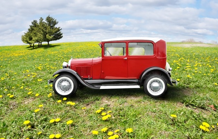 jalopy: red retro car on a green field