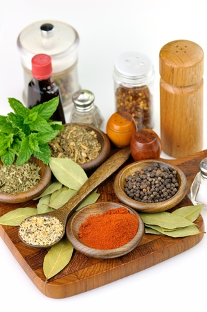 spices arrangement on a wooden cutting board  photo