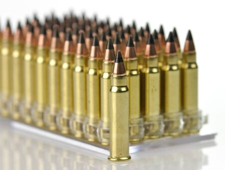 carbine: Closeup of hunting bullets for hunting carbine. Stock Photo