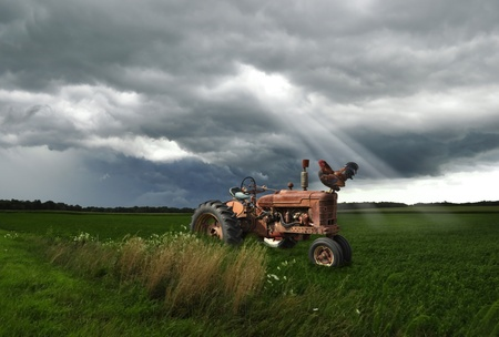 old tractor: old tractor on a summer field in a  stormy weather