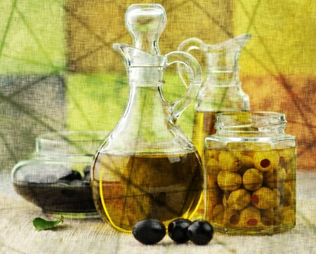 rusty background: vintage style picture of olive oil  Stock Photo