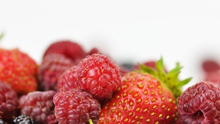 fresh berries , close up on white background photo