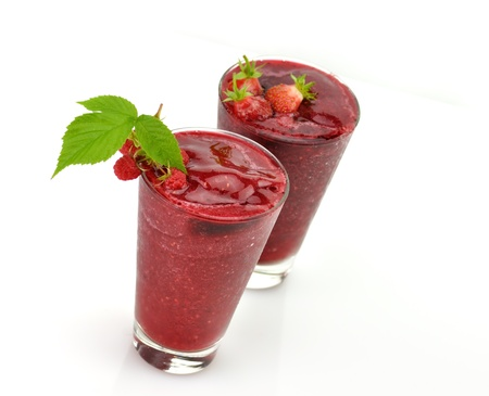 strawberry: Frozen strawberry and raspberry smoothie with fresh  berries Stock Photo