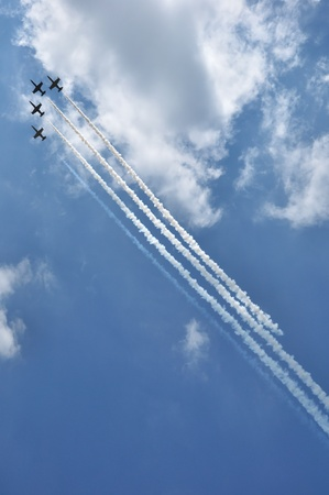 aerobatic: Aerobatic team at airshow  Editorial