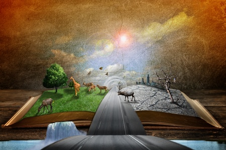 Creative concept image of country and urban concept coming out of pages in magical book  photo