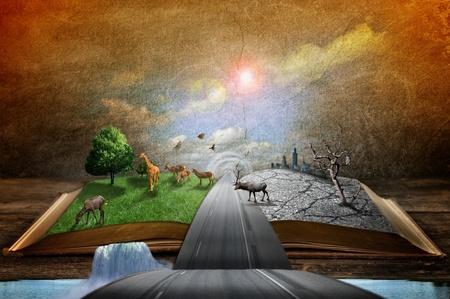 literatura: Imagen del concepto creativo de pa�s y concepto urbano que sale de las p�ginas en el libro m�gico
