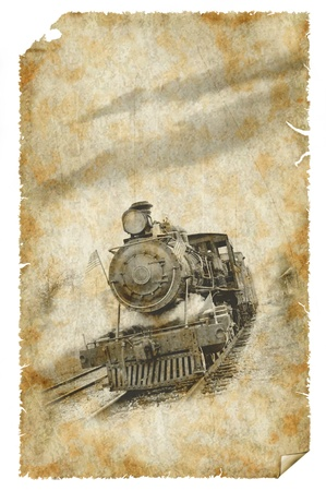 vintage style poster of old train with steam photo