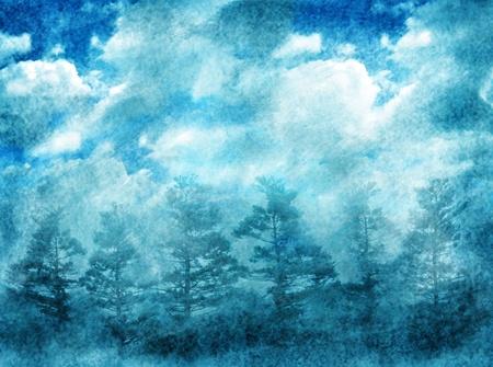 Arrière-plan abstract grunge avec la forêt de la nuit et le ciel dramatique Banque d'images - 10272318