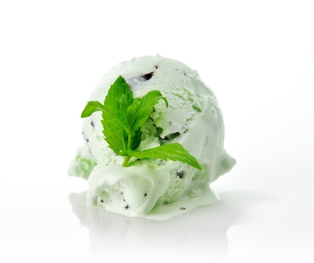 a Scoop of pistachio or mint  ice cream with chocolate chips photo