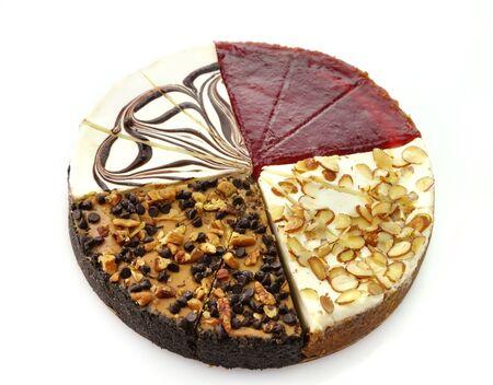 cheesecakes slices, amaretto,chocolate swirl,chocolate turtle and white chocolate raspberry photo