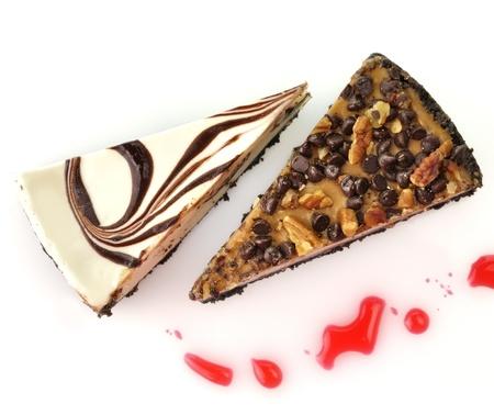 wedge: white and dark chocolate cheesecake slices Stock Photo