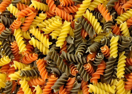 raw: Colorful pasta , close up shot for background