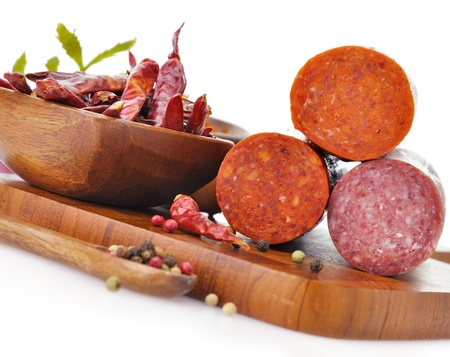 processed: Pepperoni And Hard Salami With Spices, close up Stock Photo