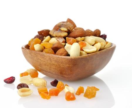 맛있고 건강 한 혼합 된 말린 과일, 견과류와 씨앗 스톡 콘텐츠
