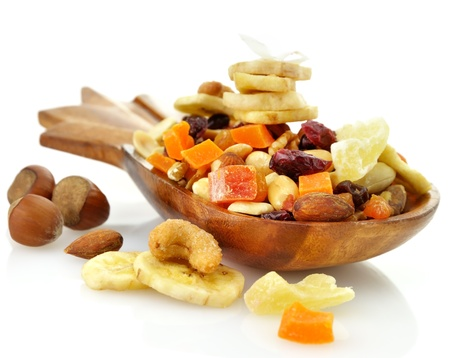 Dry Fruits Mix In A Wooden Dish photo