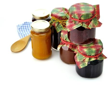 blueberry jam: assortment of homemade jam in the glass jars Stock Photo