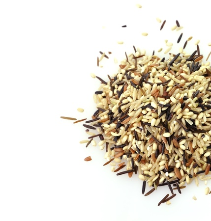 black rice: a gourmet blend of wild and whole grain brown rice Stock Photo