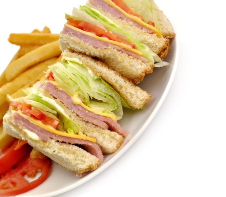 Turkey Or Ham Club Sandwich And French Fries photo